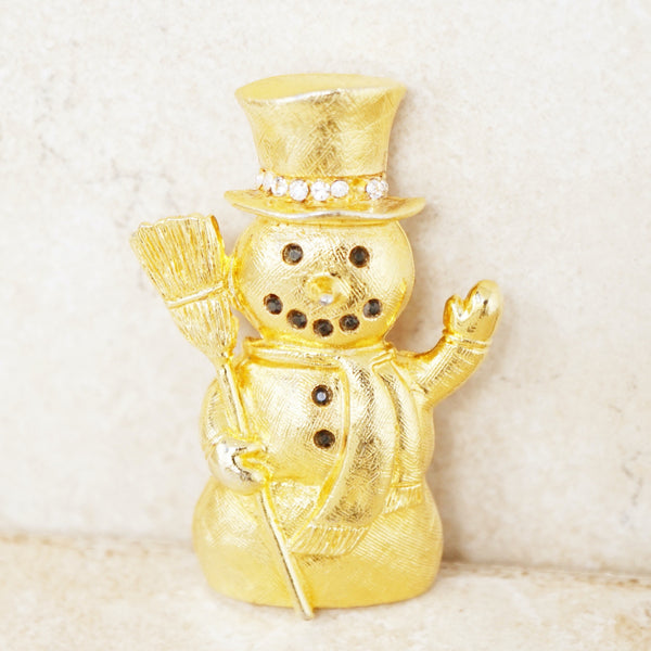 Vintage Brushed Gilt Christmas Snowman Brooch with Crystal Rhinestones, 1990s
