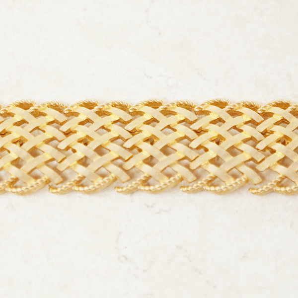 Vintage Gilded Basket Weave Bracelet by Crown Trifari, 1950s