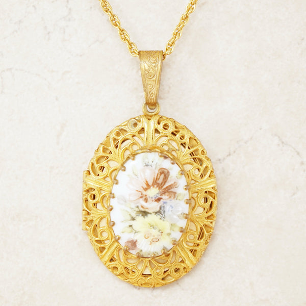 Vintage Ornate Gilded Locket Pendant Necklace with Floral Porcelain Cabochon by Miriam Haskell, 1950s