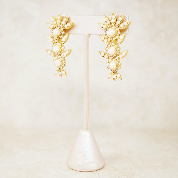 "Vintage 2"" Gilded Seed Pearl Drop Statement Earrings By Kirks Folly, 1980s"
