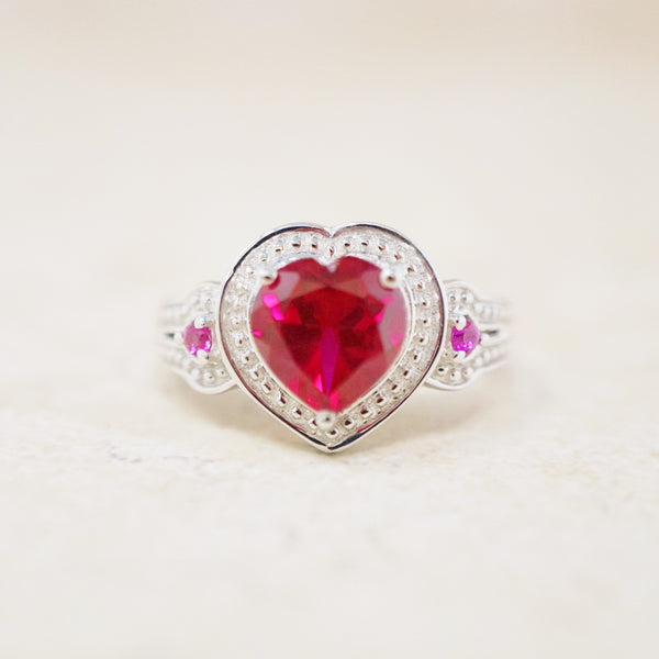 Sterling Silver and Crystal Heart Ring