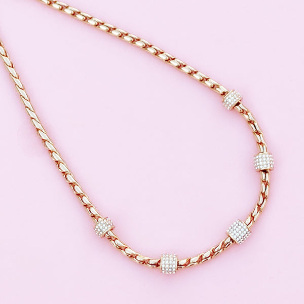 "Gilt & Swarovski Crystal ""Meridian"" Station Necklace by Brighton, 2009"
