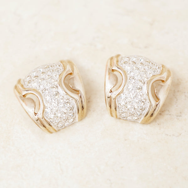 Vintage Two Tone Gilded Chunky Partial Hoop Earrings with Crystal Pavé by Panetta, 1980s
