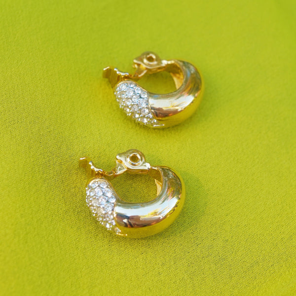 Vintage Gilded Chunky Half Hoop Earrings with Crystal Pavé. by Monet, 1980s