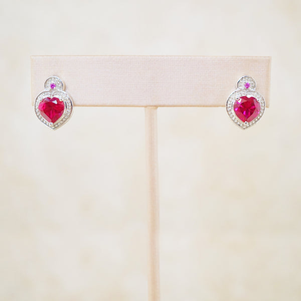 Sterling Silver and Crystal Heart Earrings