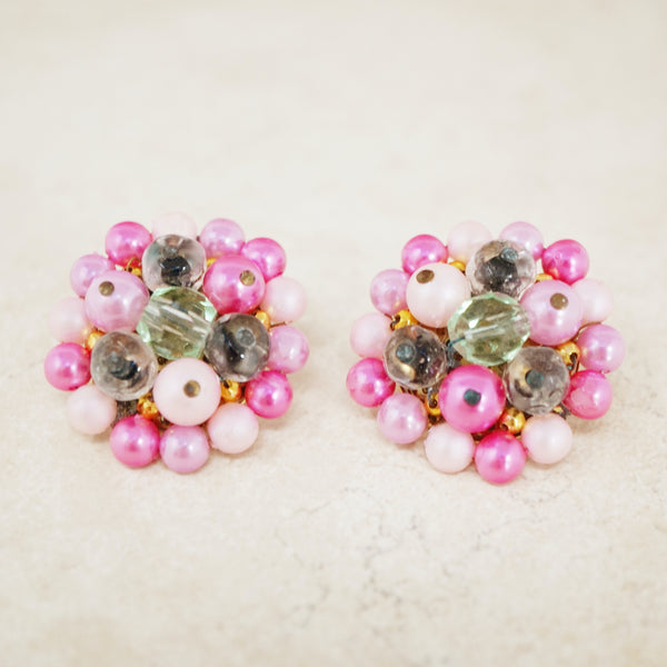 Vintage Pink Beaded Cluster Earrings