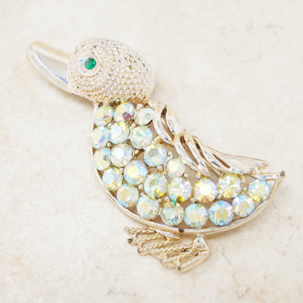 Vintage Gilt Duck Brooch with Aurora Borealis Rhinestones by Coro, 1960s