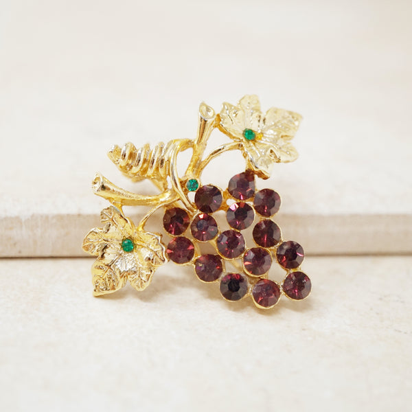 Vintage Gilded Crystal Grape Bunch Brooch, 1960s