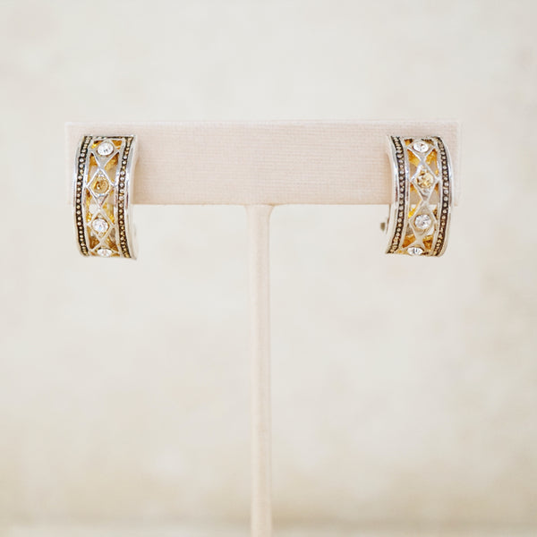Vintage Two Tone Half Hoop Earrings with Rhinestones, 1980s