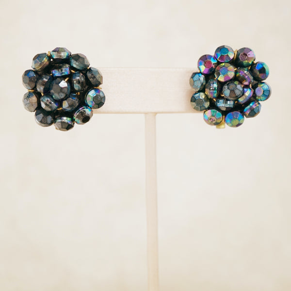 Vintage Scarab Bead Cluster Earrings