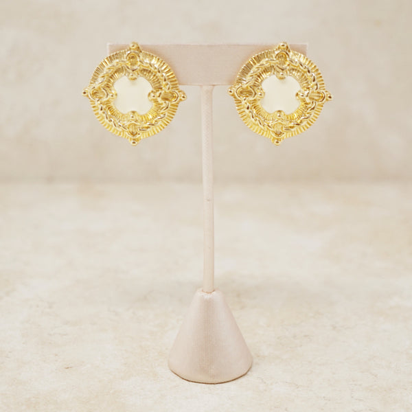 Vintage Gilt & Cream Enamel Coin Statement Earrings by St. John, 1980s