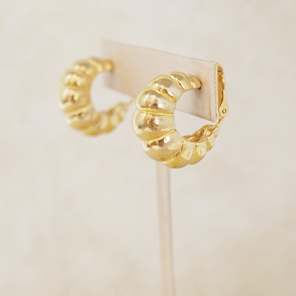 Vintage Scalloped Gold Hoop Earrings