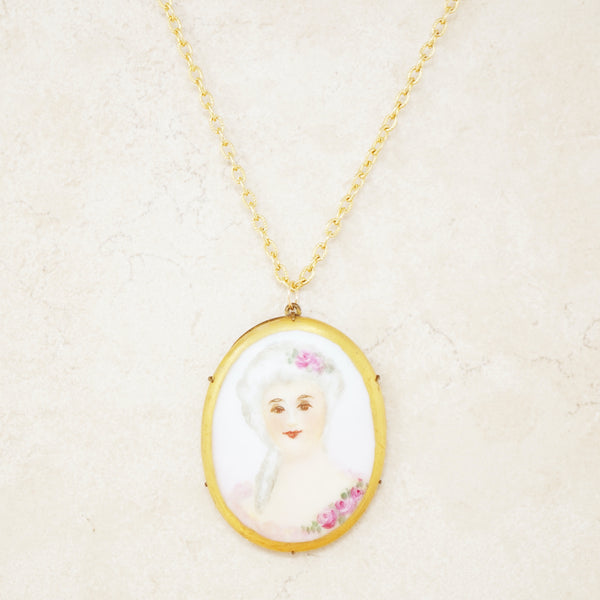 Antique Hand Painted French Limoges Porcelain Victorian Woman Pendant Necklace, 1800s