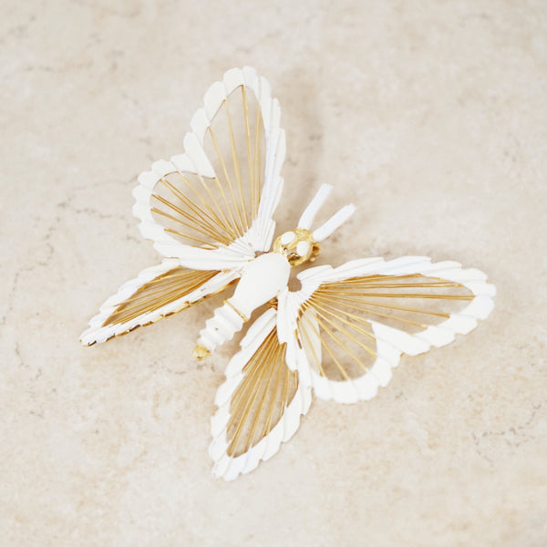 Vintage Iconic White Enamel Spinneret Collection Butterfly Brooch by Monet, 1970s