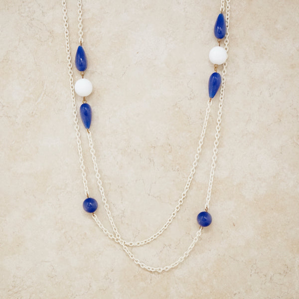 Vintage White & Blue Beaded Chain Necklace, 1960s