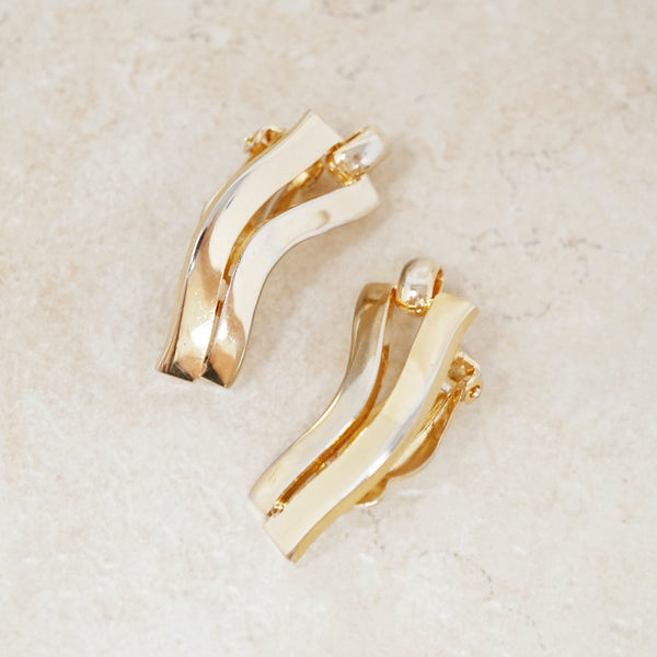 Vintage Gilded Abstract Wavy Earrings, 1960s