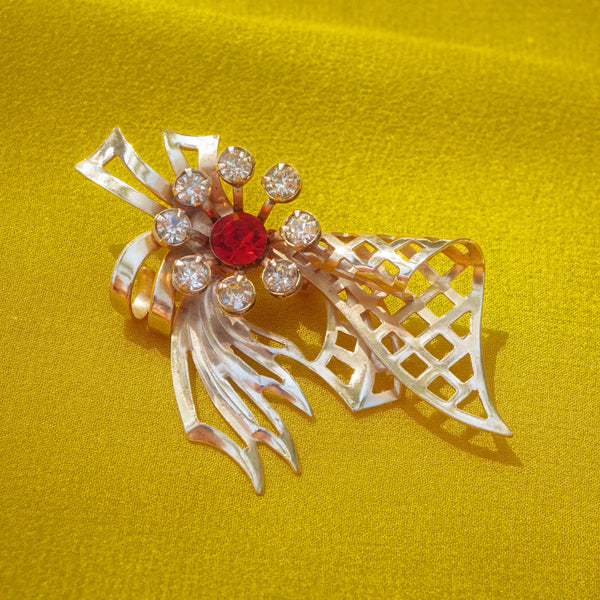 Vintage Gold Ribbon Rhinestone Flower Brooch, 1940s