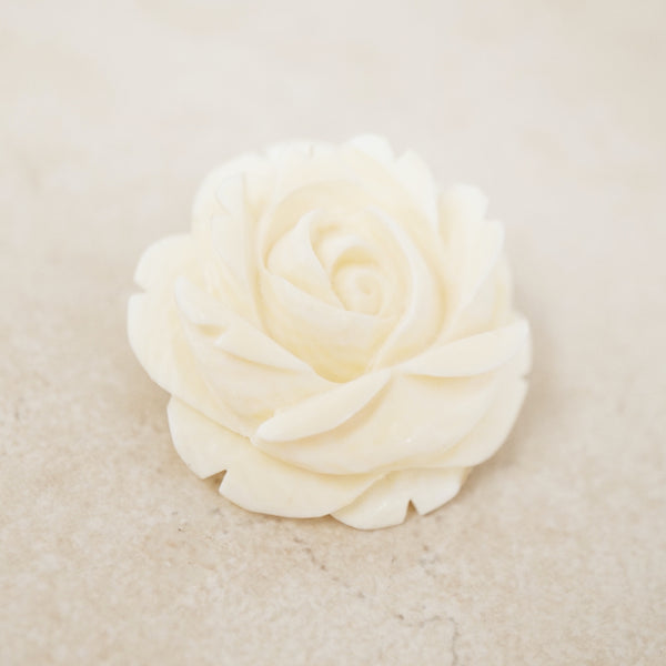 Vintage Carved Rose Flower Brooch, 1970s