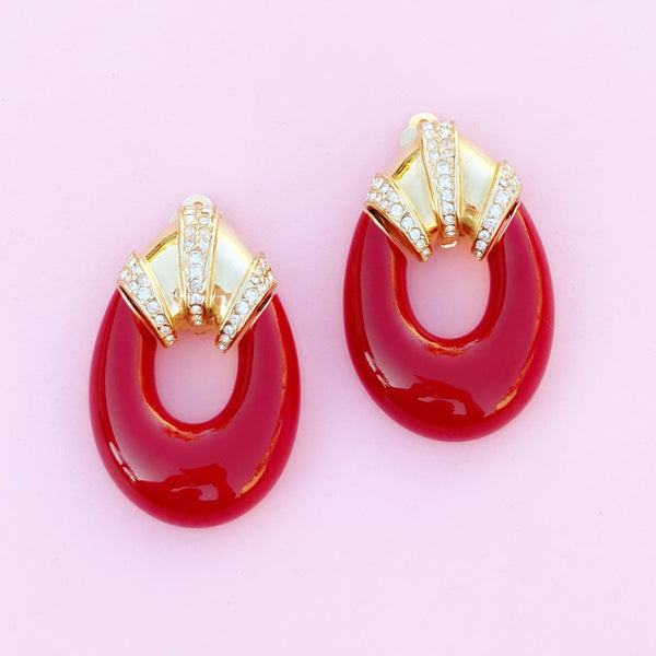 Vintage Gilt & Red Enamel Oversized Door Knocker Earrings by Ciner, 1980s