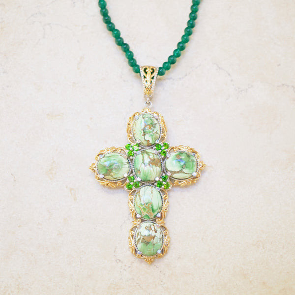 Sterling Silver & Green Jasper Cross Necklace