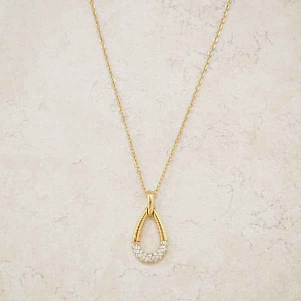 Vintage Gold Teardrop Pendant Necklace with Crystal Pavé by Crown Trifari, 1960s
