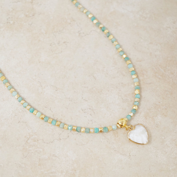 Russian Amazonite & Howlite Heart Gemstone Rondelet Necklace