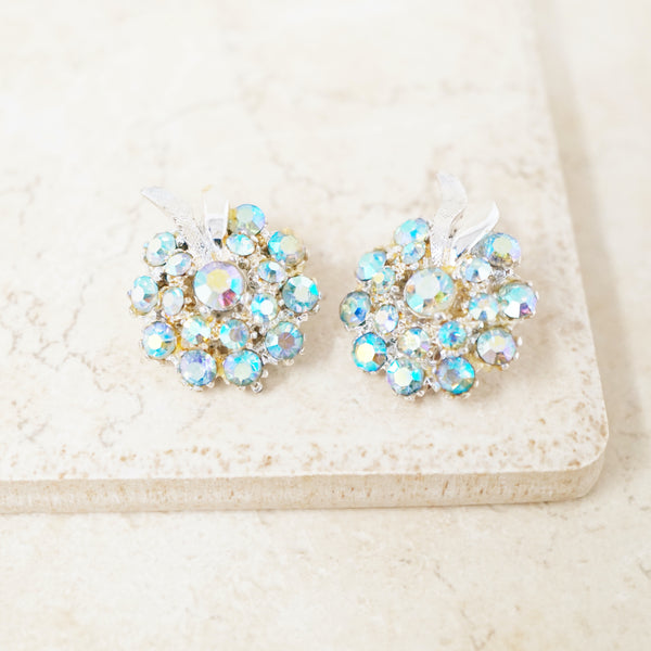 Vintage Aurora Borealis Blue Crystal Cluster Earrings by ModeArt, 1960s