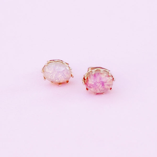 Prong Set Opal Stud Earrings, 1970s