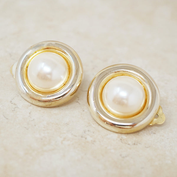 Vintage Mabe Pearl Oversized Button Earrings, 1980s