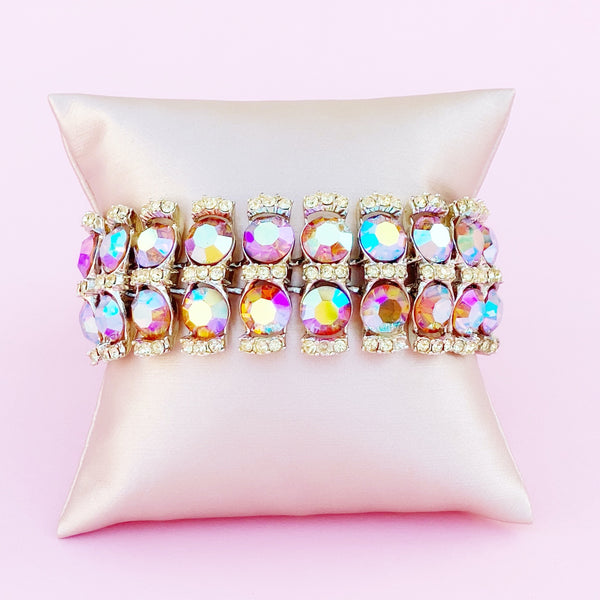 Pink Aurora Borealis Crystal Two Row Cocktail Bracelet, 1960s