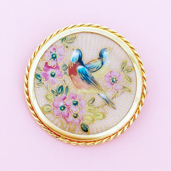 Antique Hand-Painted Limoges Porcelain Spring Birds Brooch by Paul Pastaud, 1920s