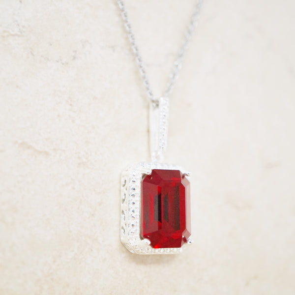 Ruby Red Crystal Pendant Necklace