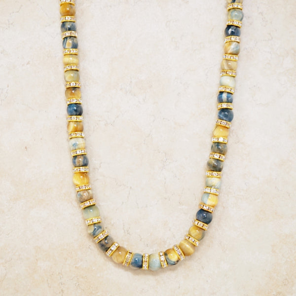 Golden Blue Tiger's Eye Rondelet Necklace