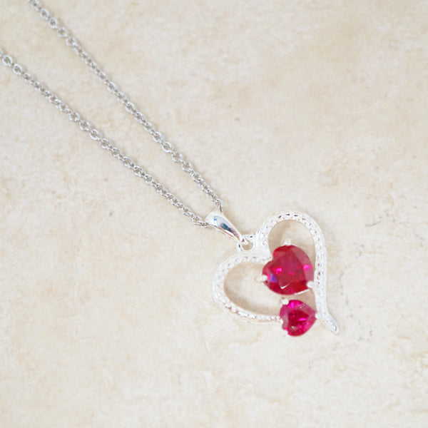 Sterling Silver & Ruby Heart Pendant Necklace