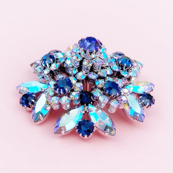 Vintage Juliana-Style Blue Aurora Borealis Crystal Cluster Layered Cocktail Brooch By D&E For Vendome, 1960s