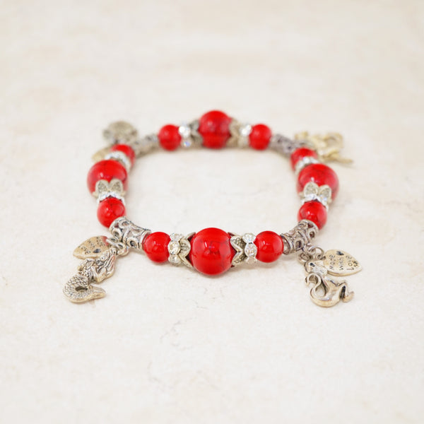 Red Jasper Gemstone Charm Bracelet