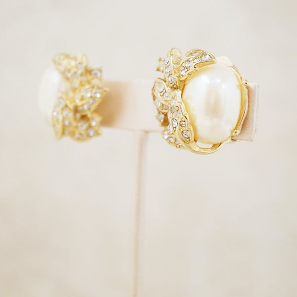 Vintage Gilt Leaves, Pearl & Crystal Pavé Earrings by Richelieu, 1950s
