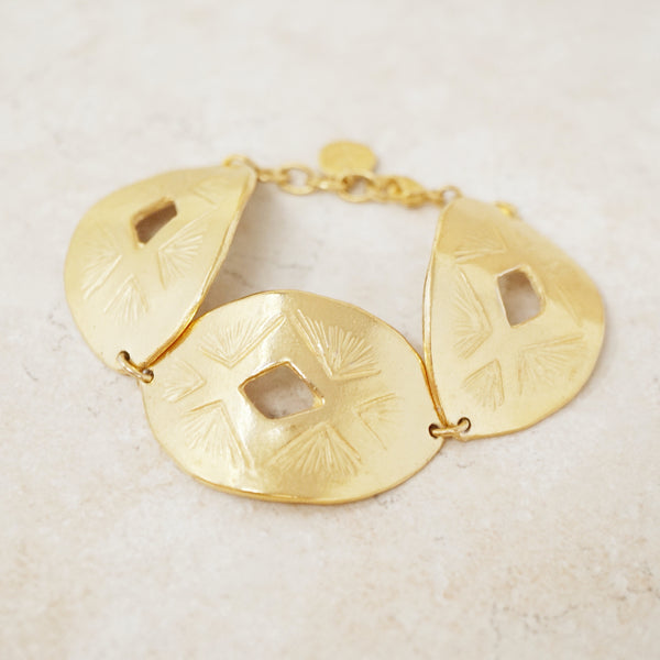 Vintage Gilded Oval Link Bracelet with Etched Detail, 1980s