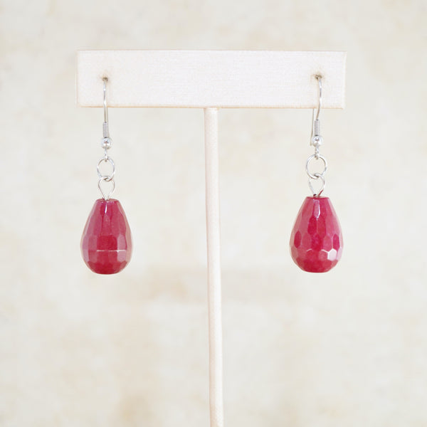 Raspberry Jade Dangle Earrings
