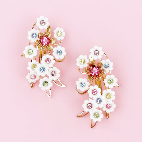 Oversized Plastic Flower Ear Climber Statement Earrings With Pastel Rhinestones By Emmons, 1960s