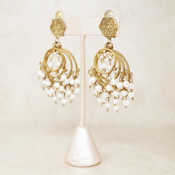 Vintage Pearl Hoop Chandelier Earrings, 1970s