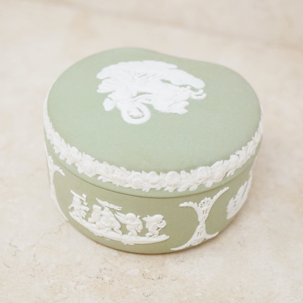 Antique Green & White Jasperware Ceramic Trinket Box by Wedgwood (Large), 1860s