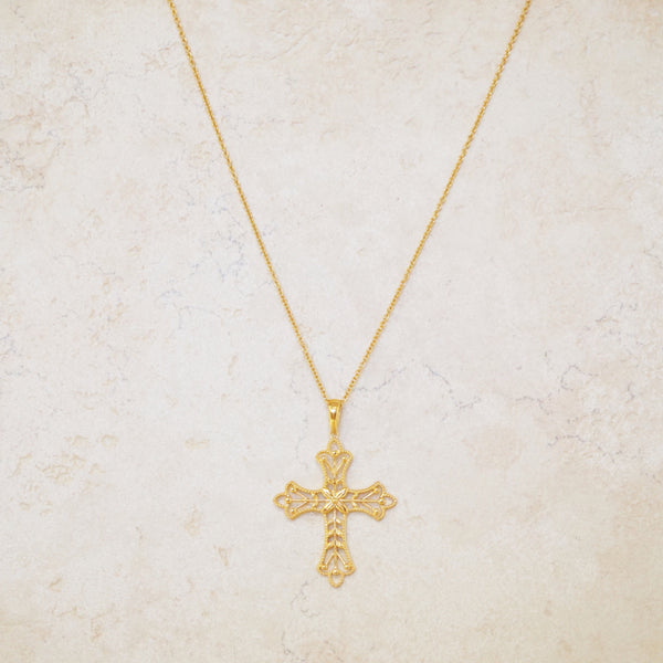 Gold Vermeil Cross Pendant Necklace