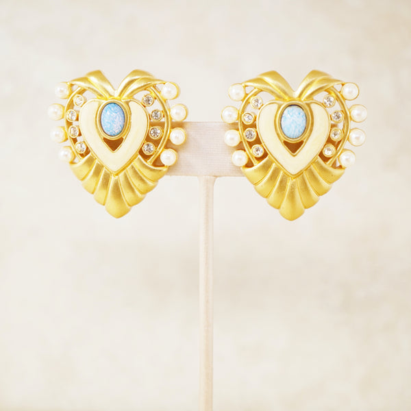"Vintage Gilded ""Heart of Hollywood"" Oversized Statement Earrings By Elizabeth Taylor For Avon, 1994"
