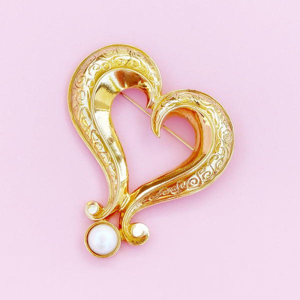 Vintage Oversized Gilded Heart Figural Brooch By Avon, 1980s