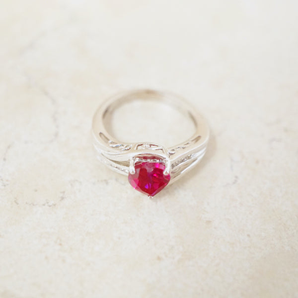 Ruby Heart Ring with Diamond Accents
