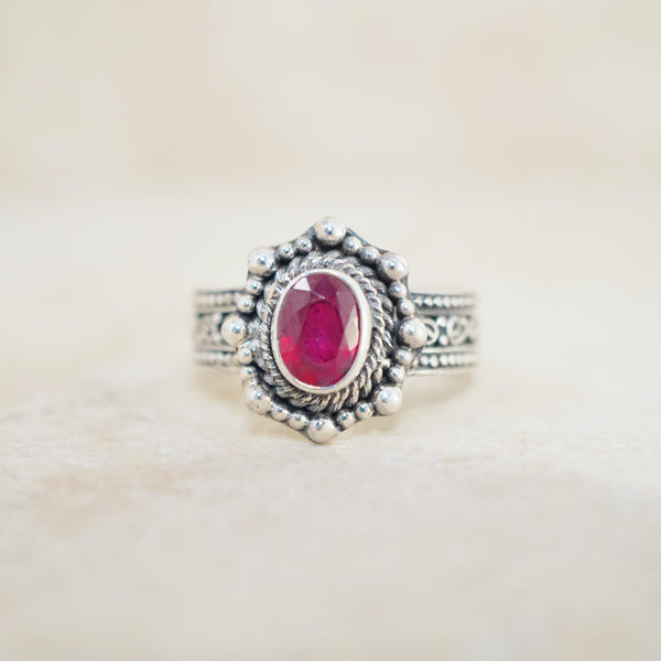 Sterling Silver & Ruby Ring