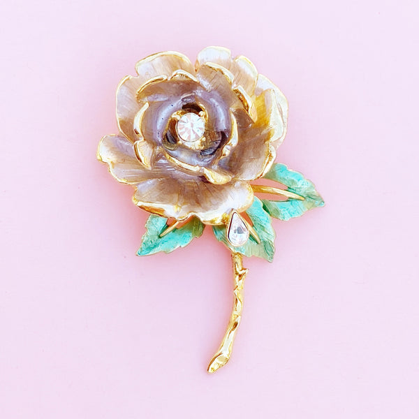 "Vintage Gilded ""England's Rose"" Princess Diana Memorial Brooch by RJ Graziano, 1990s"