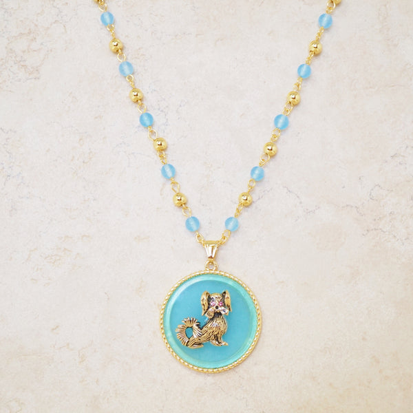 Golden Pup Charm Necklace