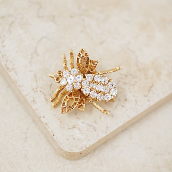 Vintage Gold Vermeil Bug Brooch with Crystal Pavé, 1960s